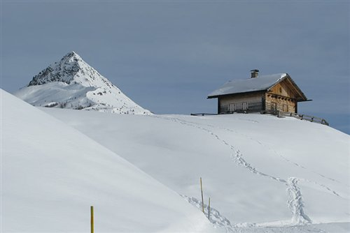 Hut with snow